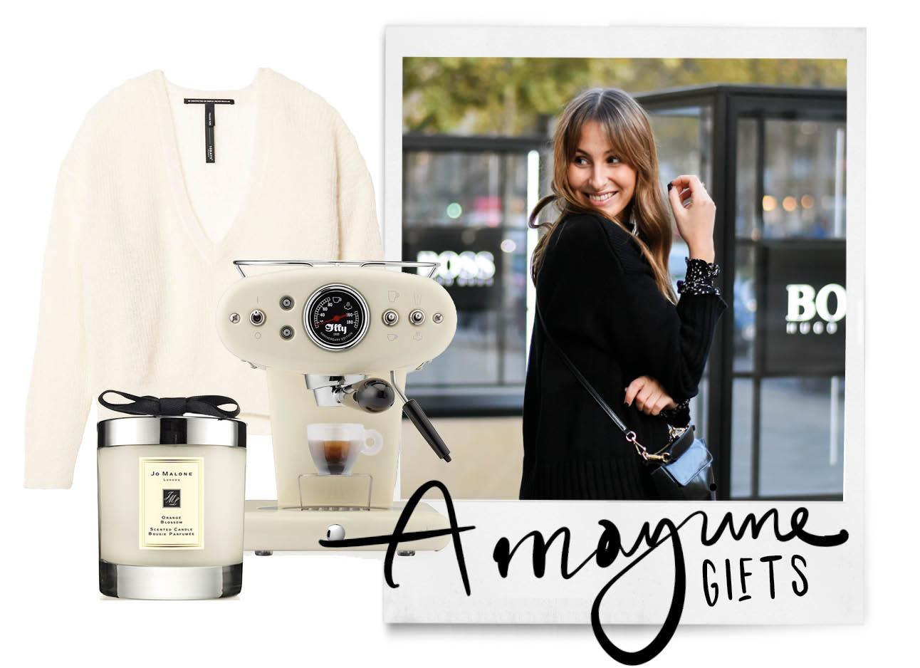 lilian lachend buiten voor de look of the day met gifts Jo Malone geurkaars koffie zet apparaat en trui van 10days