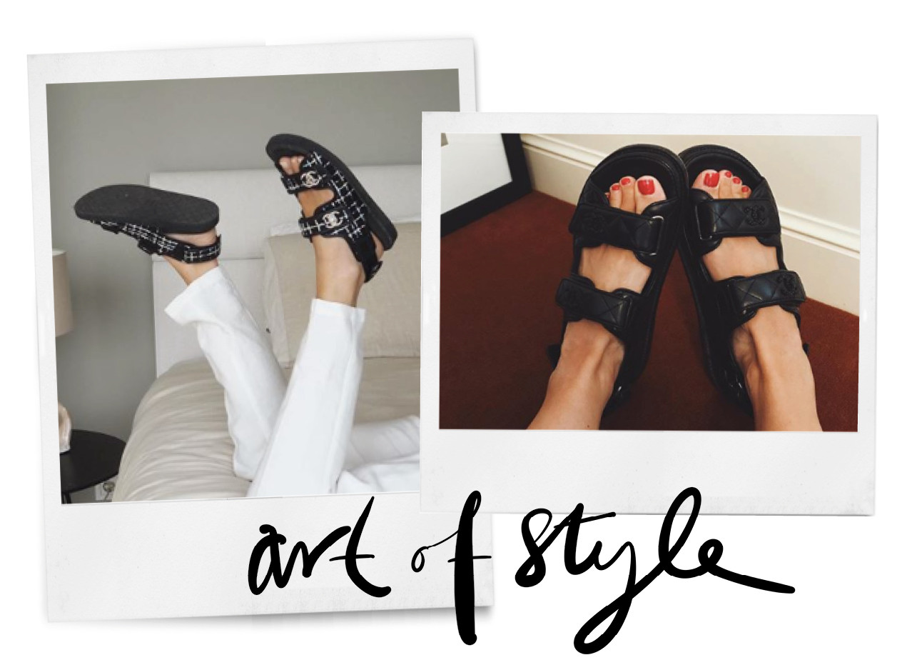 de zwarte wandel sandaal op instagram met gelakte tenen