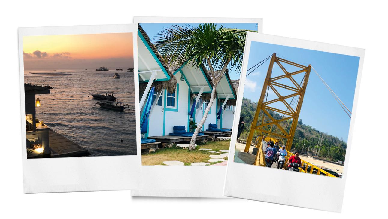 een strand met een ondergaande zon en blauwe huisjes met witten muren