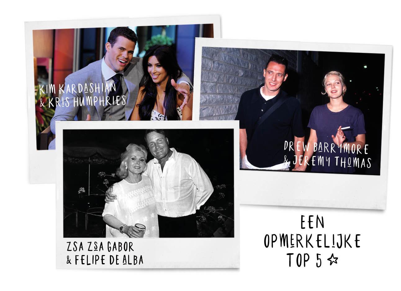 celeberties Een opmerkelijke top 5 Deze celebritysetjes waren extreem kort getrouwd