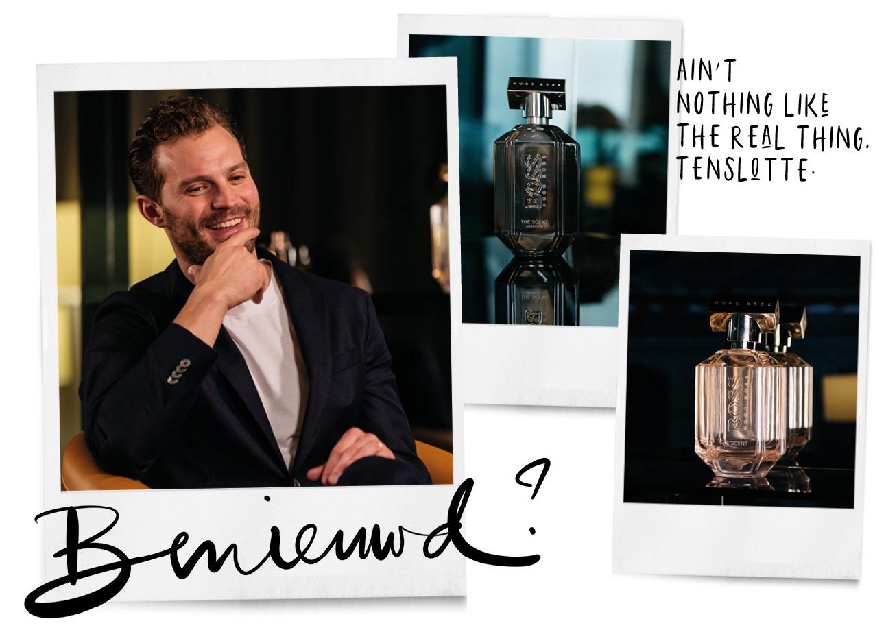 jamie dornan met naast hem de parfums van hugo boss