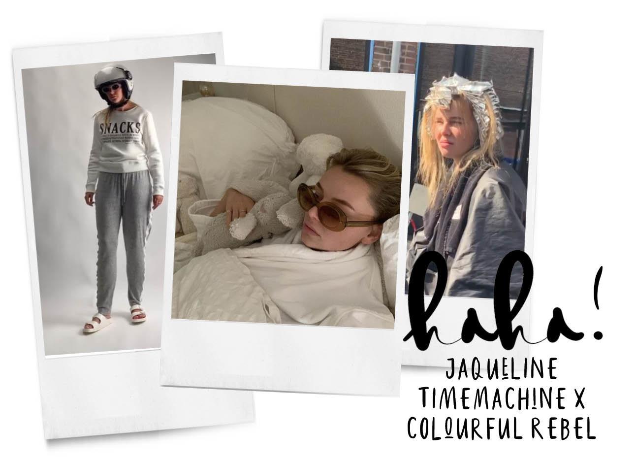 Op de foto zijn meerder afbeeldingen van jaqueline timemachine te zien voor haar samenwerking met colorful rebele