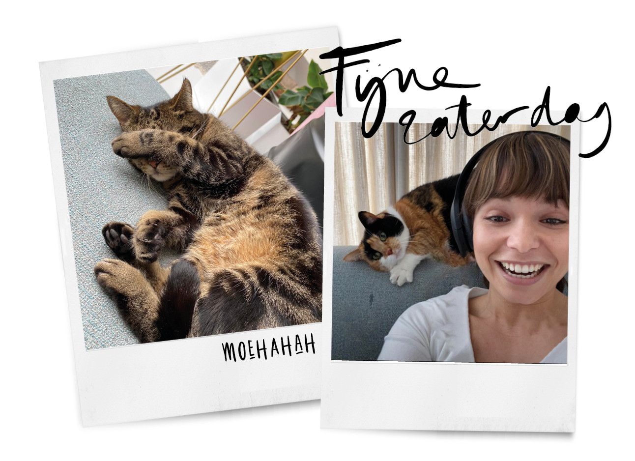Kiki met haar katten thuis lachend
