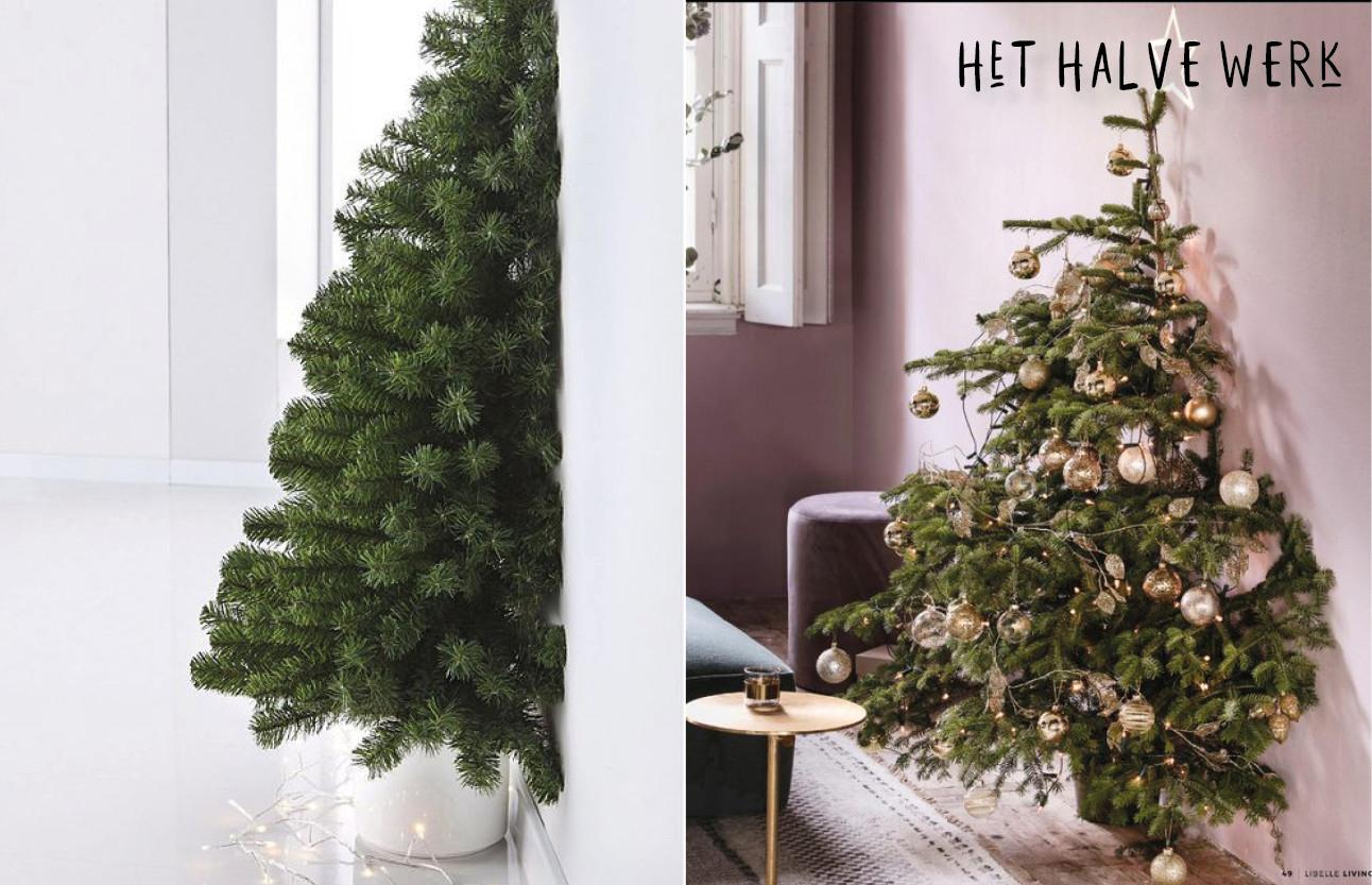beelden van kerstbomen die half in de muur zijn verwertk
