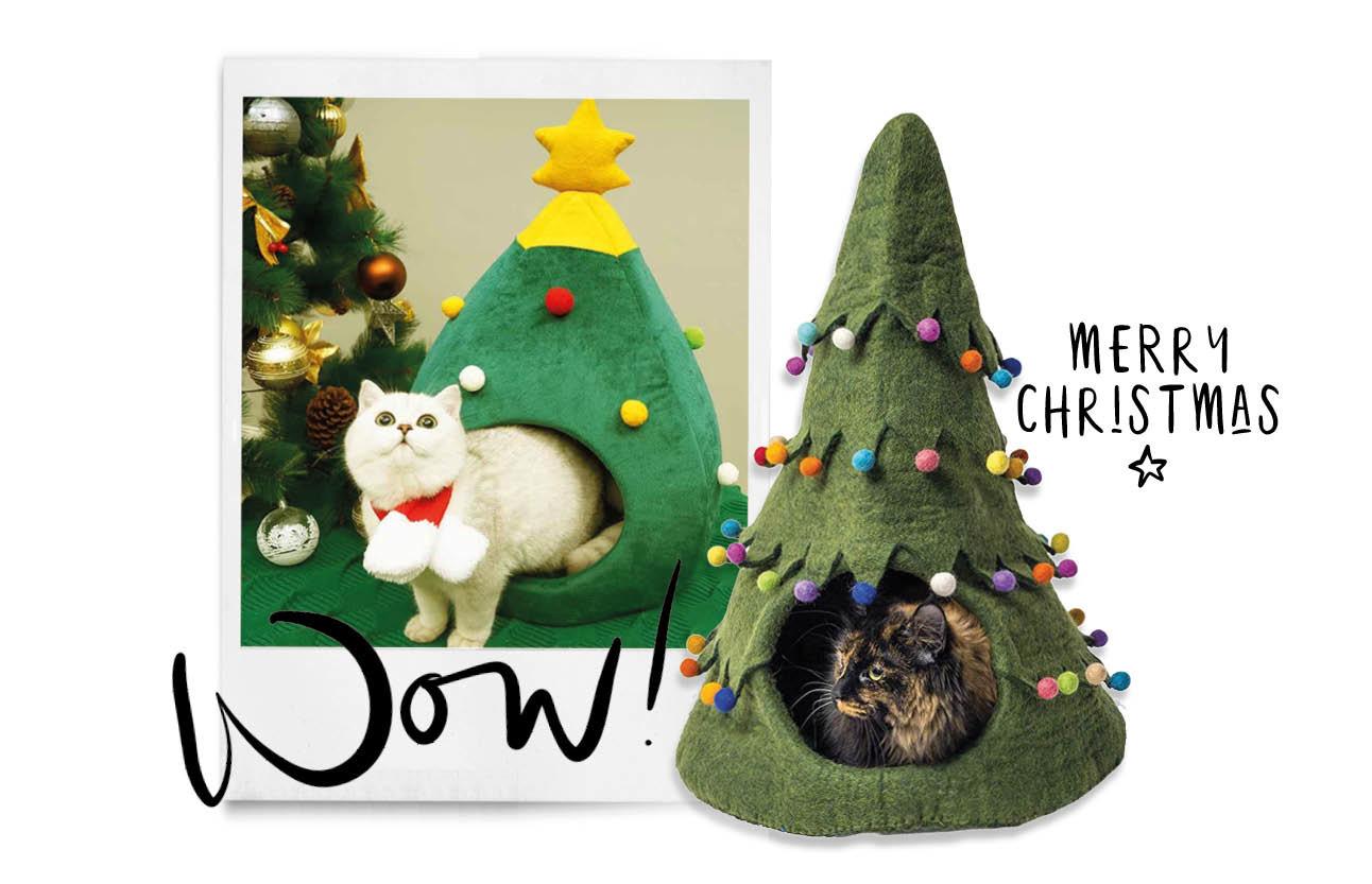 een kersthuisje voor je katten in de vorm van een kerstboom