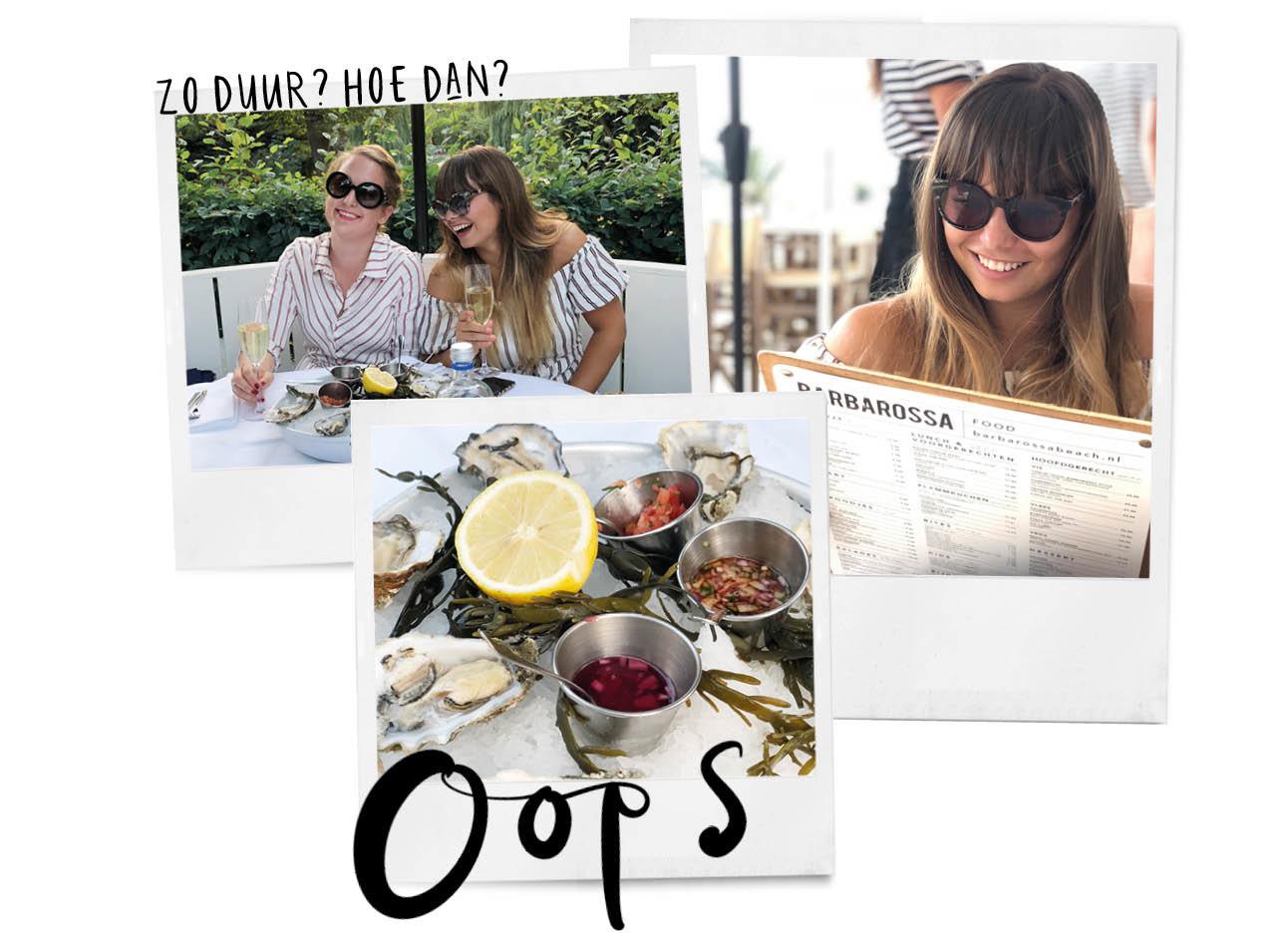 kiki lachend met eten oesters luxe duur met vriendin champagne drinken