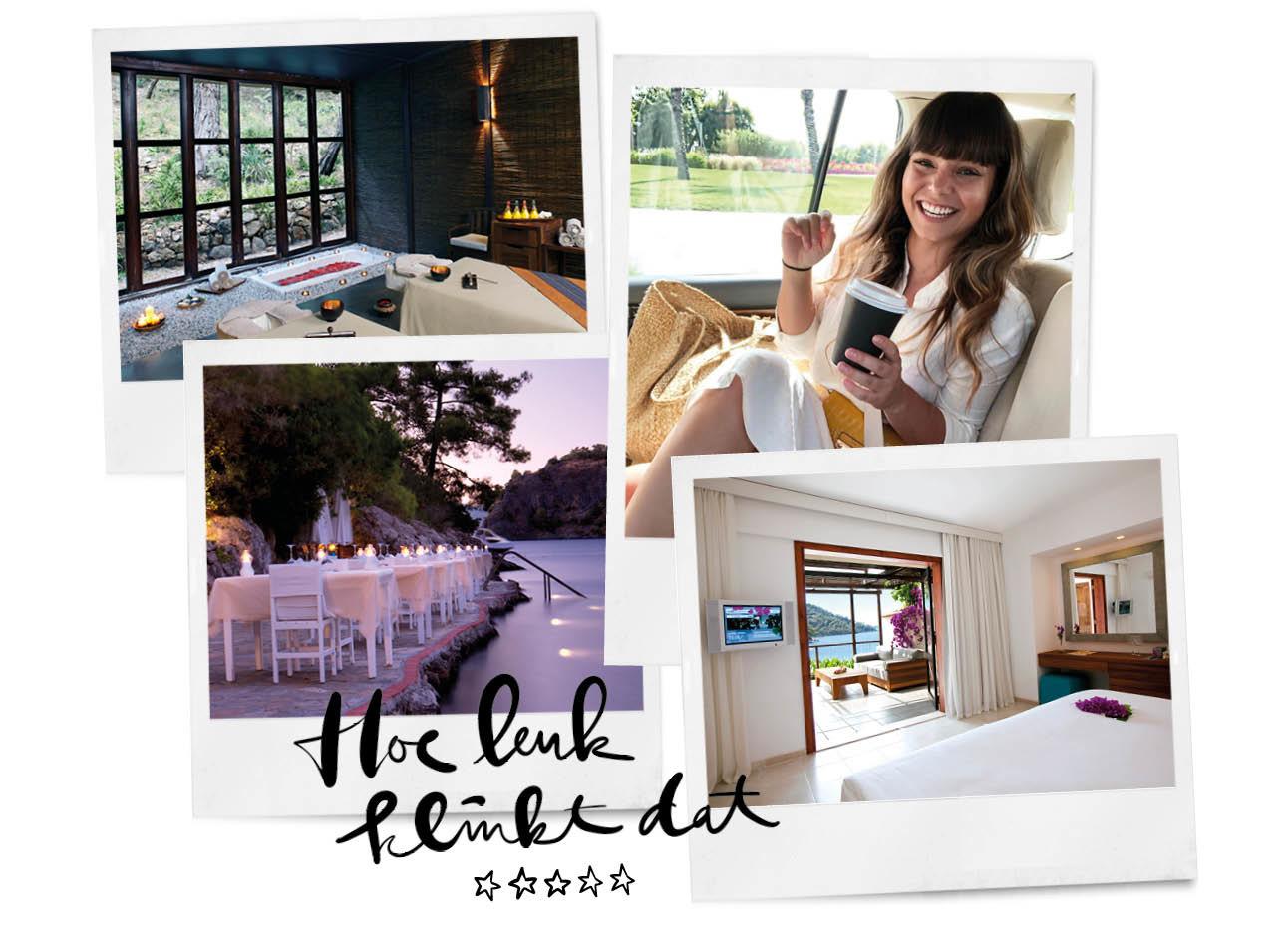 Kiki duren lachend in de taxi in het buitenland hillside beach hotel de spa slaapkamer restaurant luxe