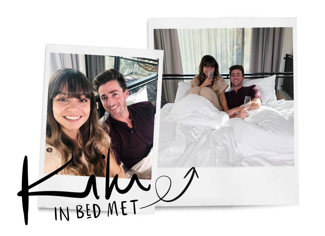 in bed met kiki en hugo kennis van expeditie robinson met champagne in hotel arena