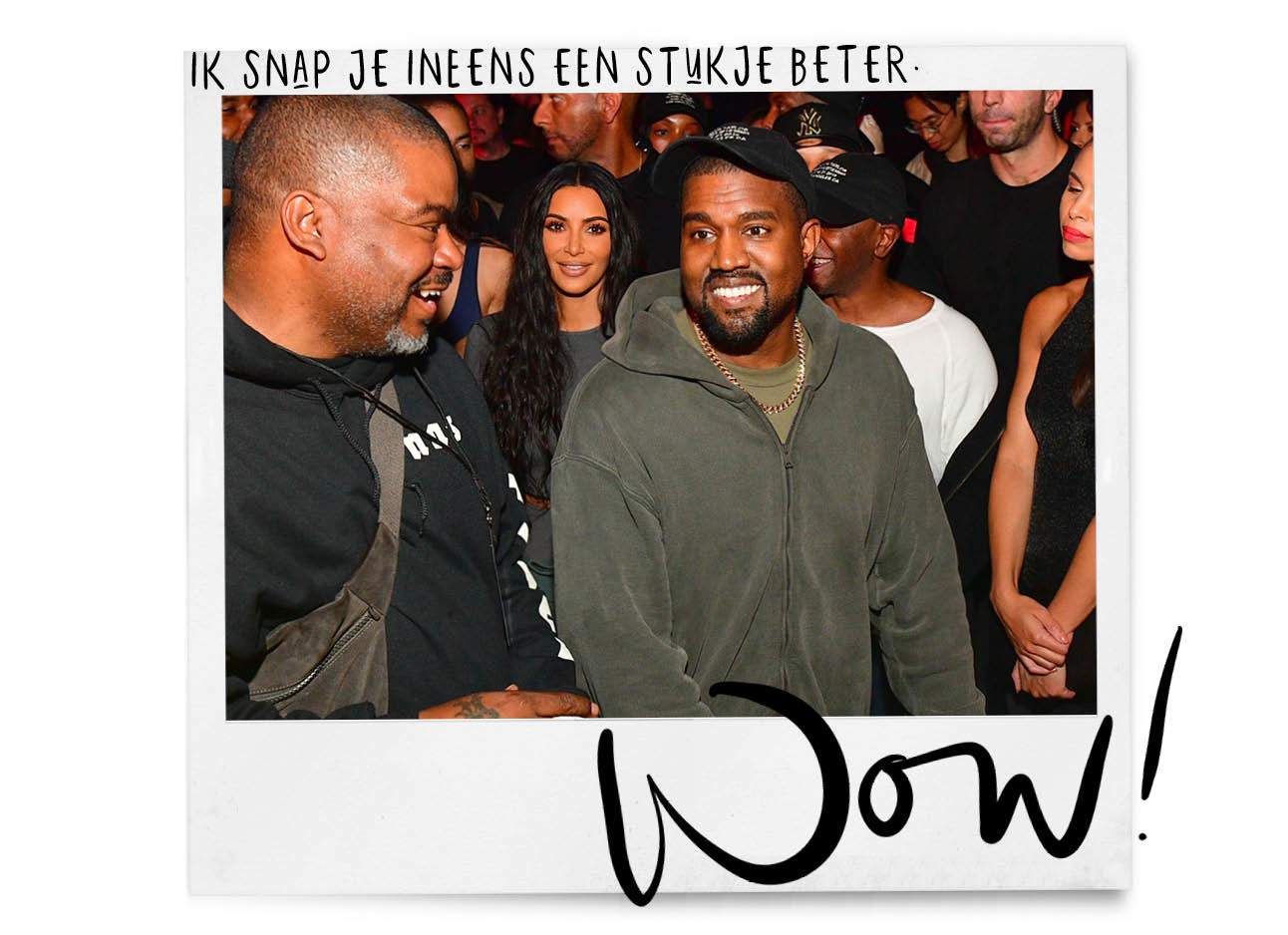 kanye west lachend tijdens een feest met Kim kardashian