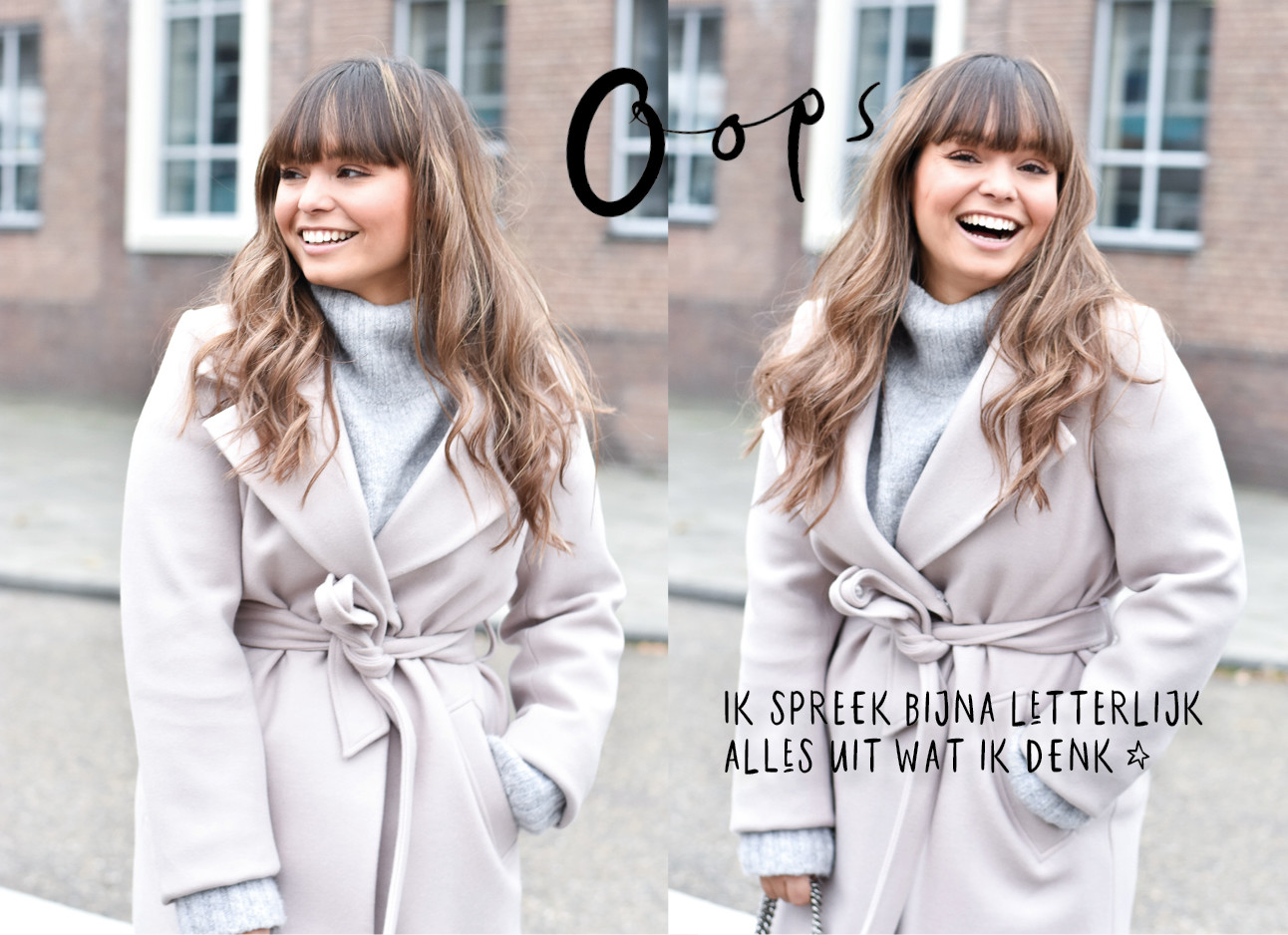 kiki lachend in beige jas met een grijze coltrui voor de look of the day