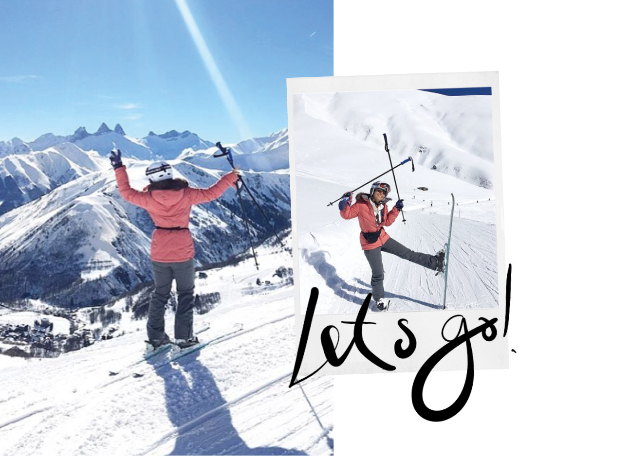 Kiki die in een roze skie jas op de berg staat