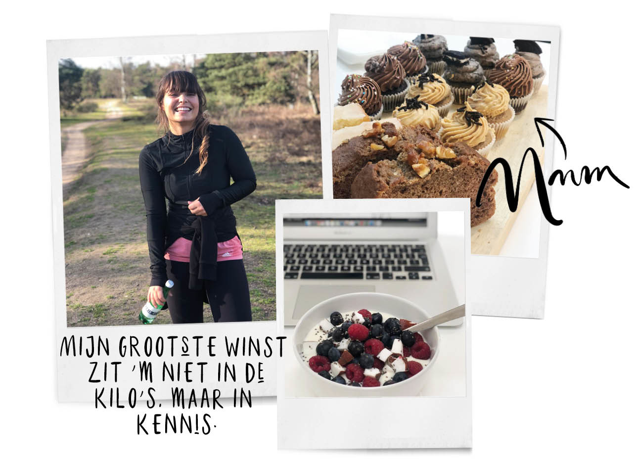 Kiki's dieetdagboek sporten in het park rennen heerlijke cakes en cupe cakes en gezond ontbijt bij laptop