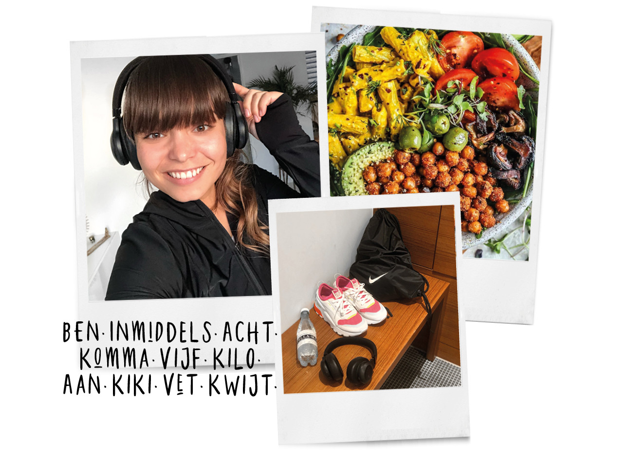 Kiki dieetdagboek kiki aan het sporten met sportkleding en een bord vol met eten