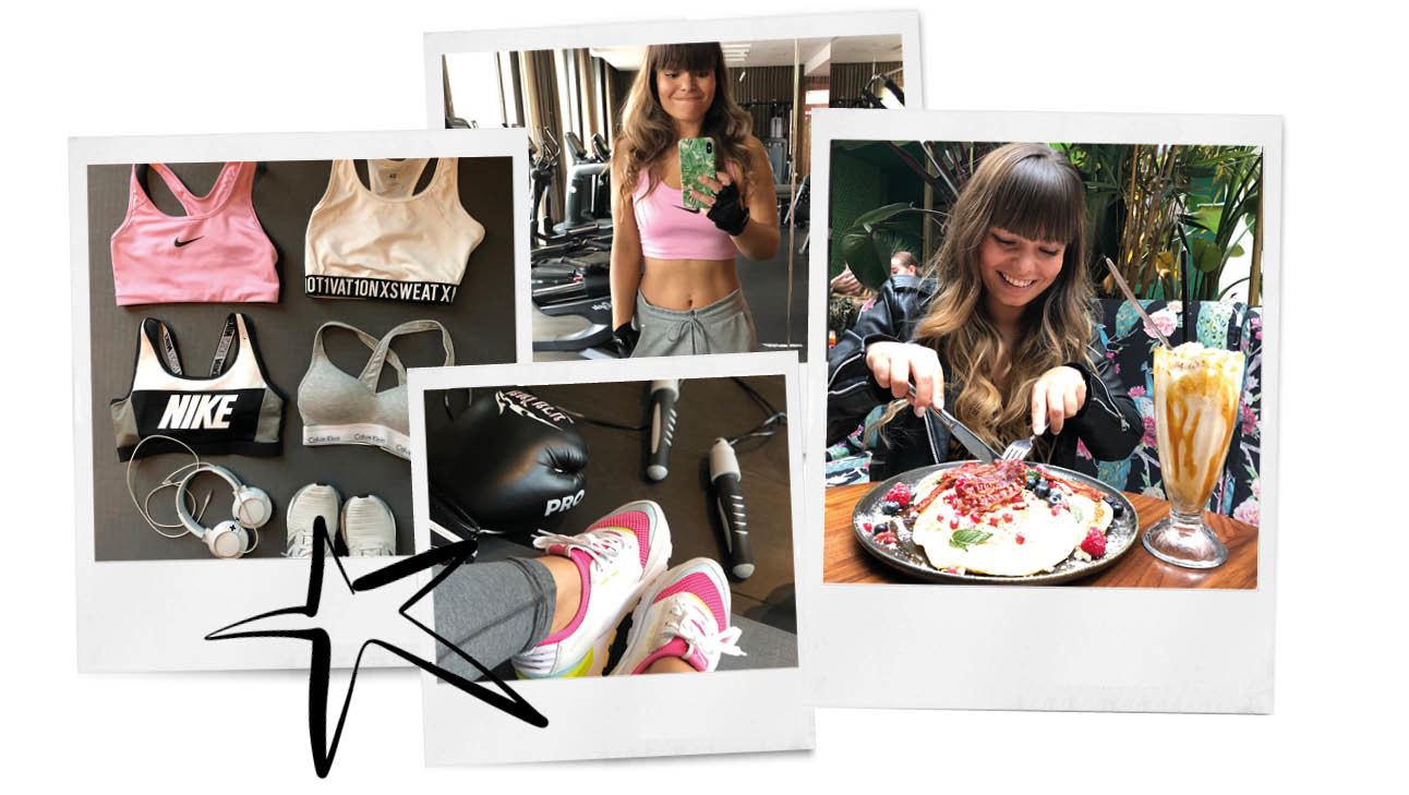 Kiki duren pannekoeken eten sporten sporttops schoenen trainingen spiegel sselfie