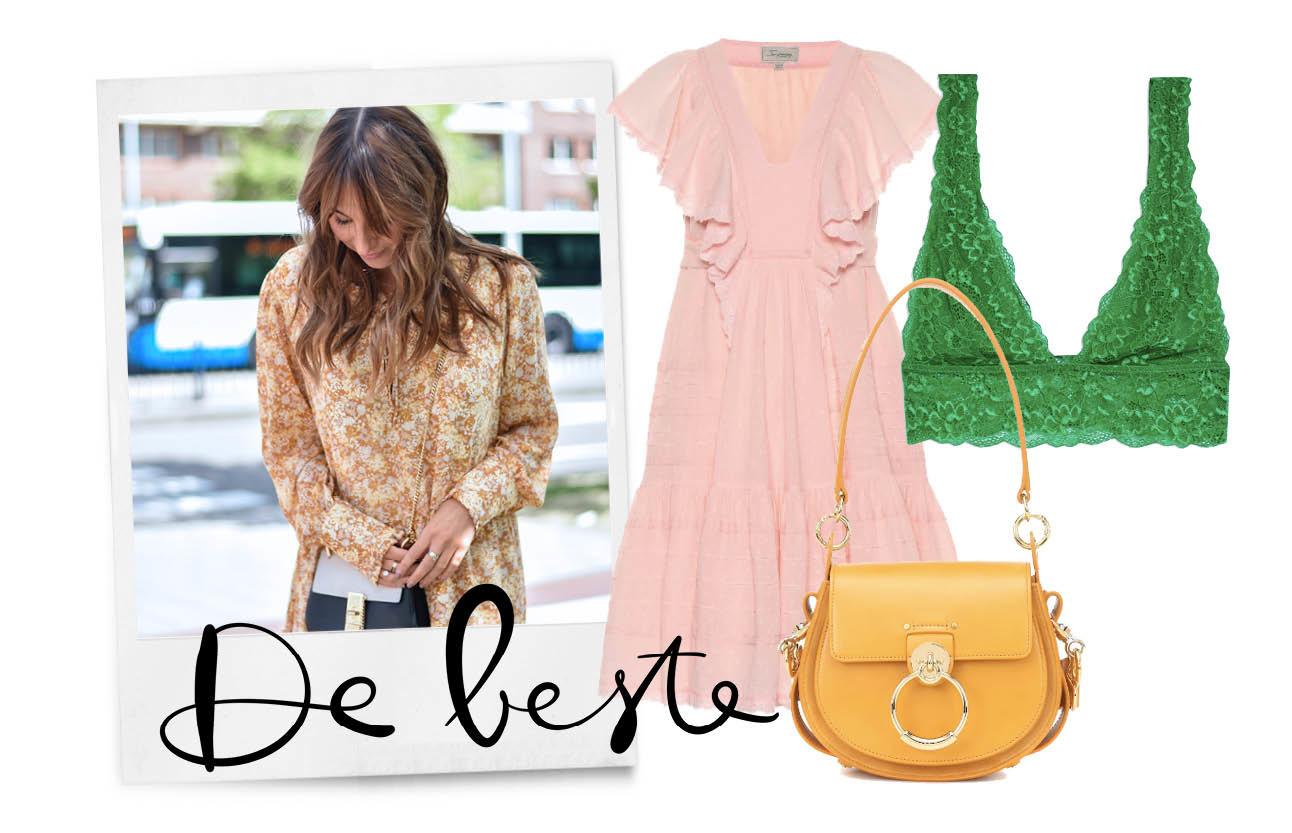 lilian brijl shopping brunette, okergeel, poederoze, greenery