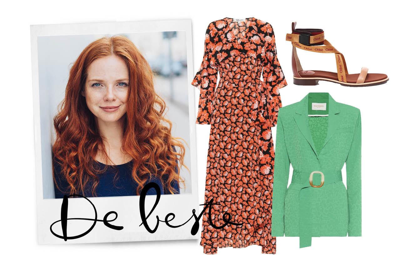 shopping rood haar, coral, green en camel