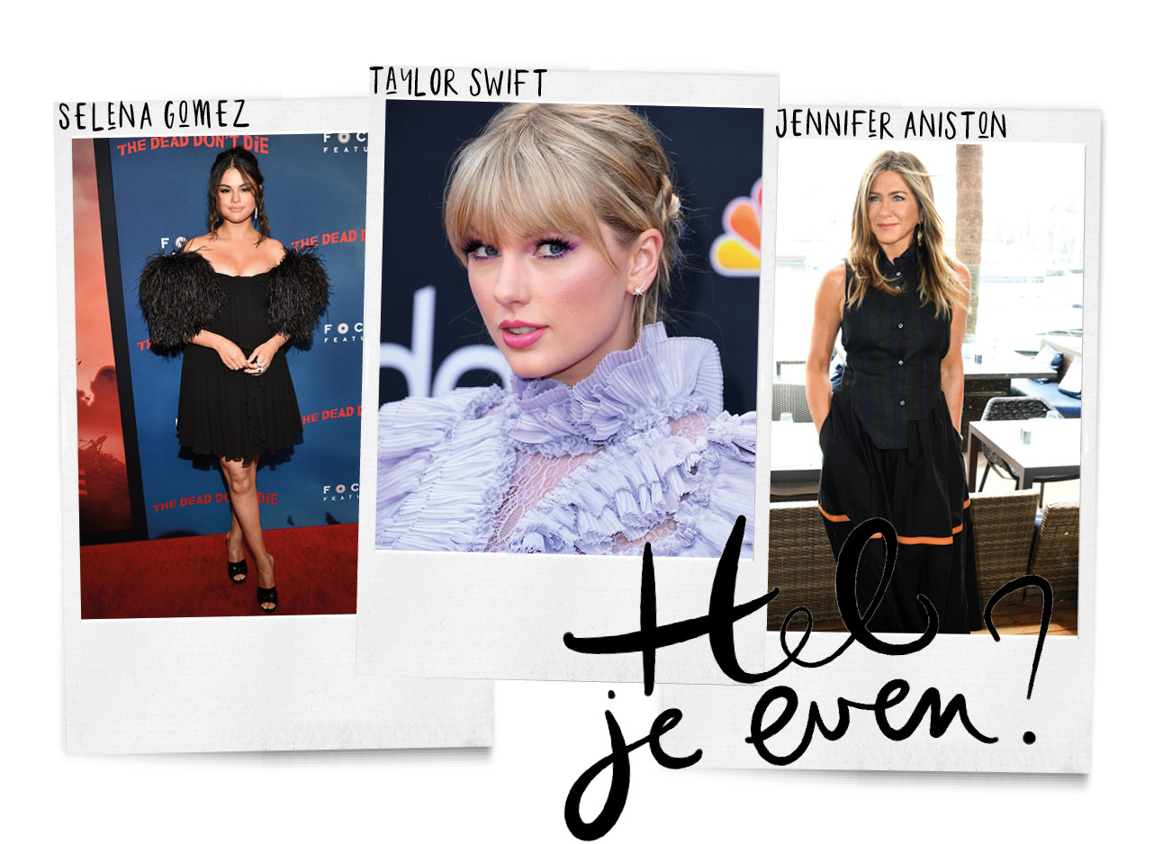 beelden van taylor swift, selena gomez en jennifer aniston