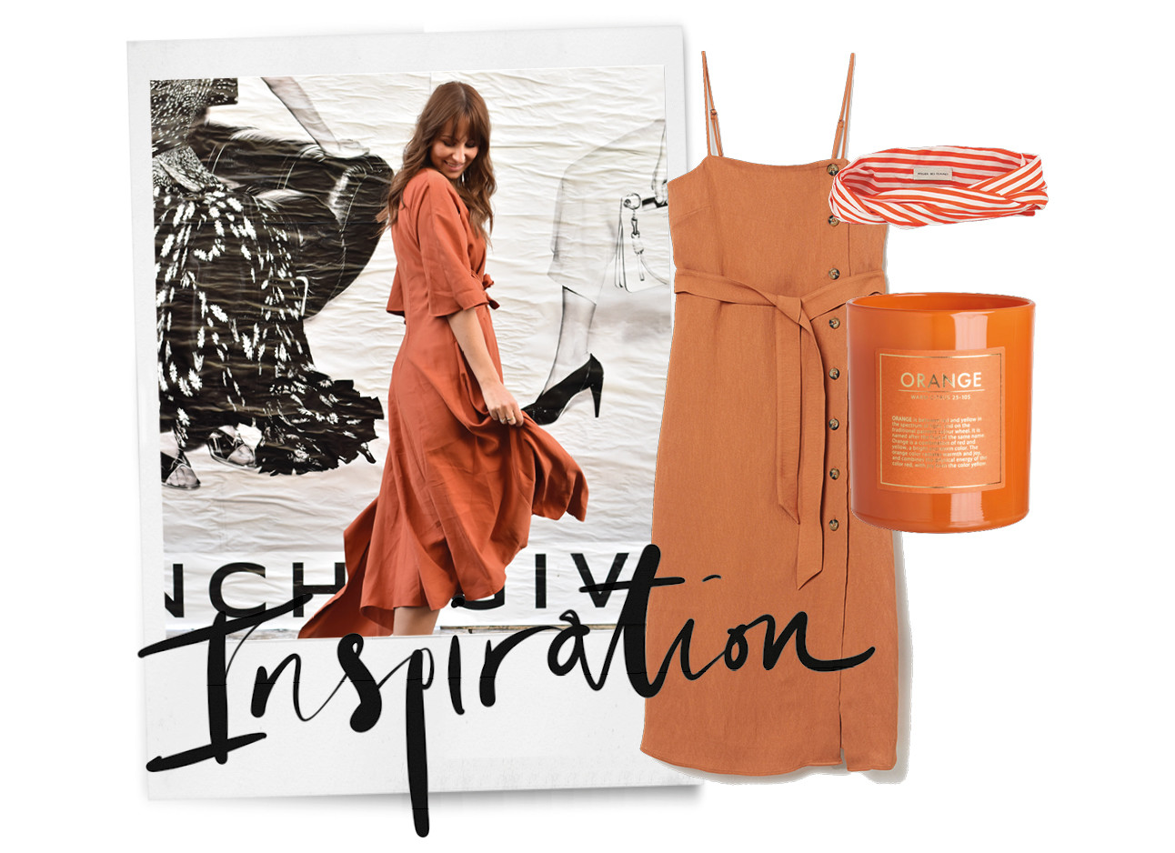 lilian brijl in een oranje jurk, daarnaast een oranje jurk, een oranje kaars en een bandeau van aterlier des femmes