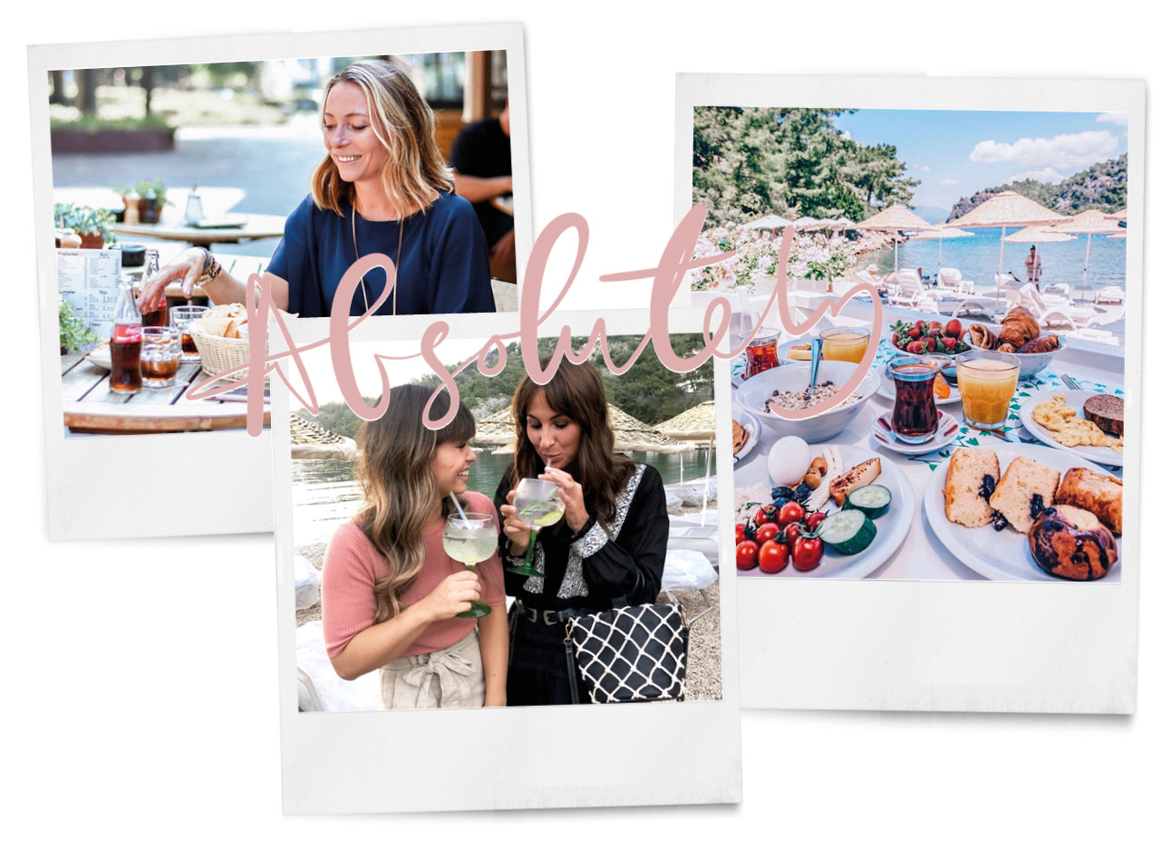May-britt aan tafel met lekkere gerechten kiki en lilian drinken een cocktail en ontbijt bij Hillside beach resort met amayzine redactie