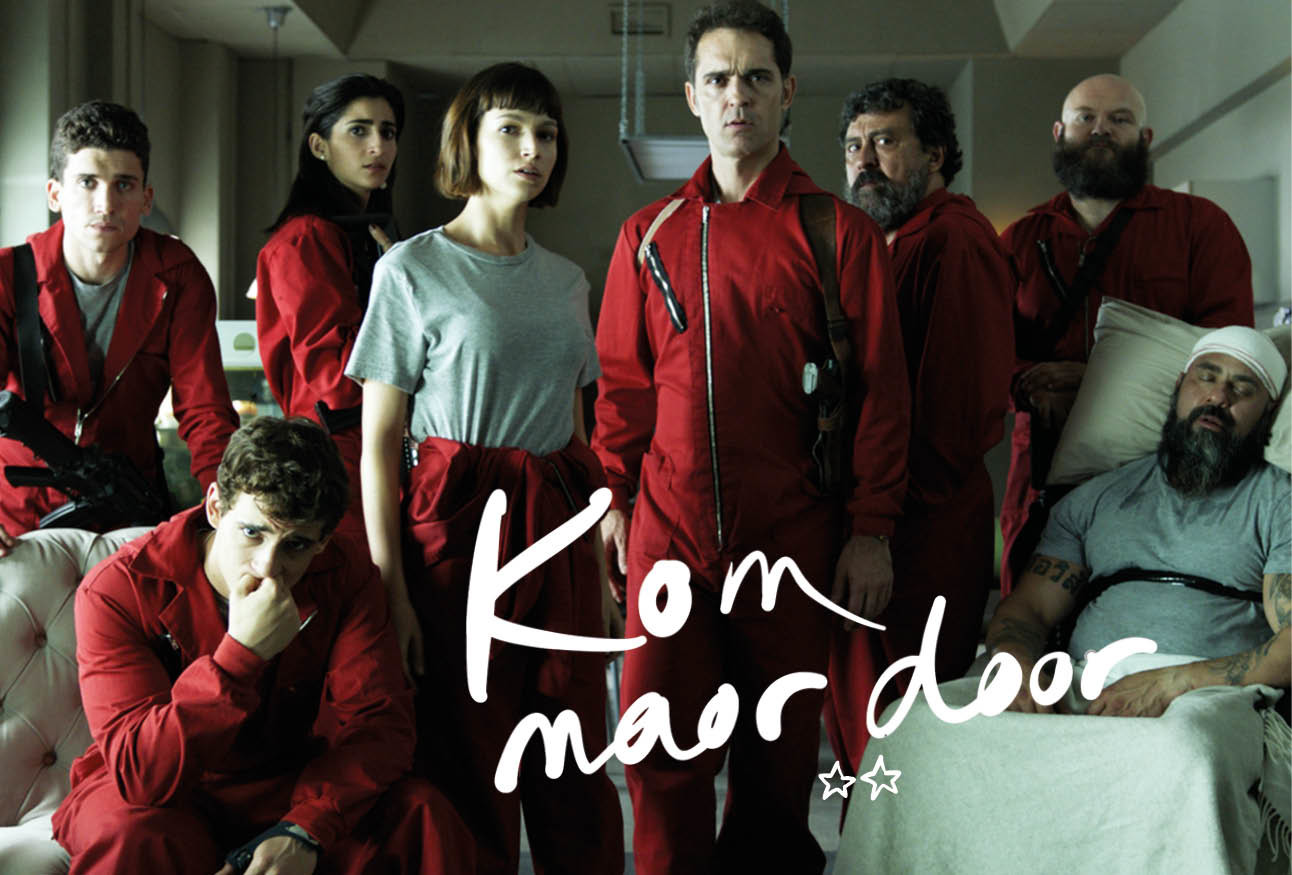 de cast van la casa de papel in rode pakken