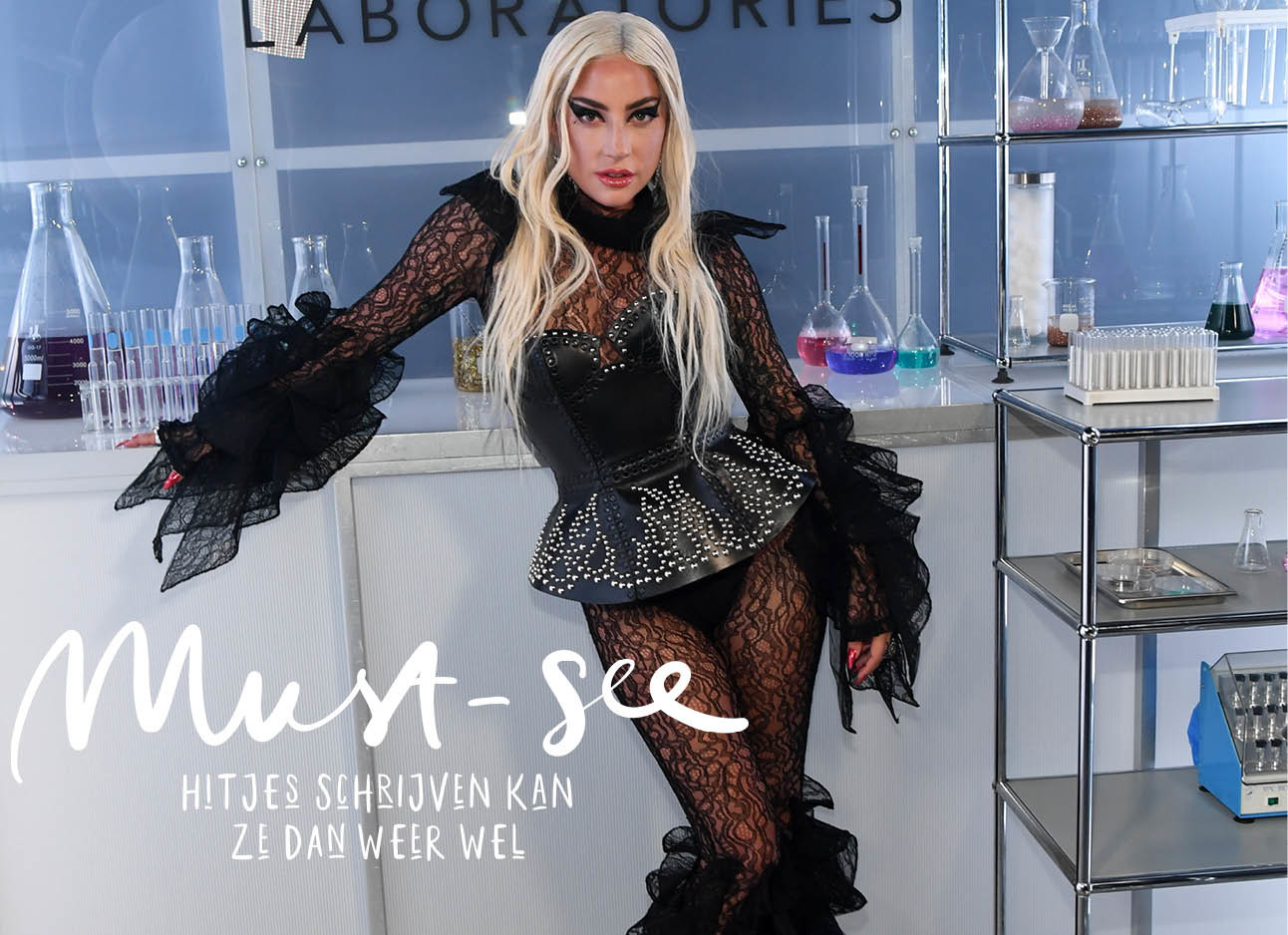 Lady Gaga in zwarte outfit kant