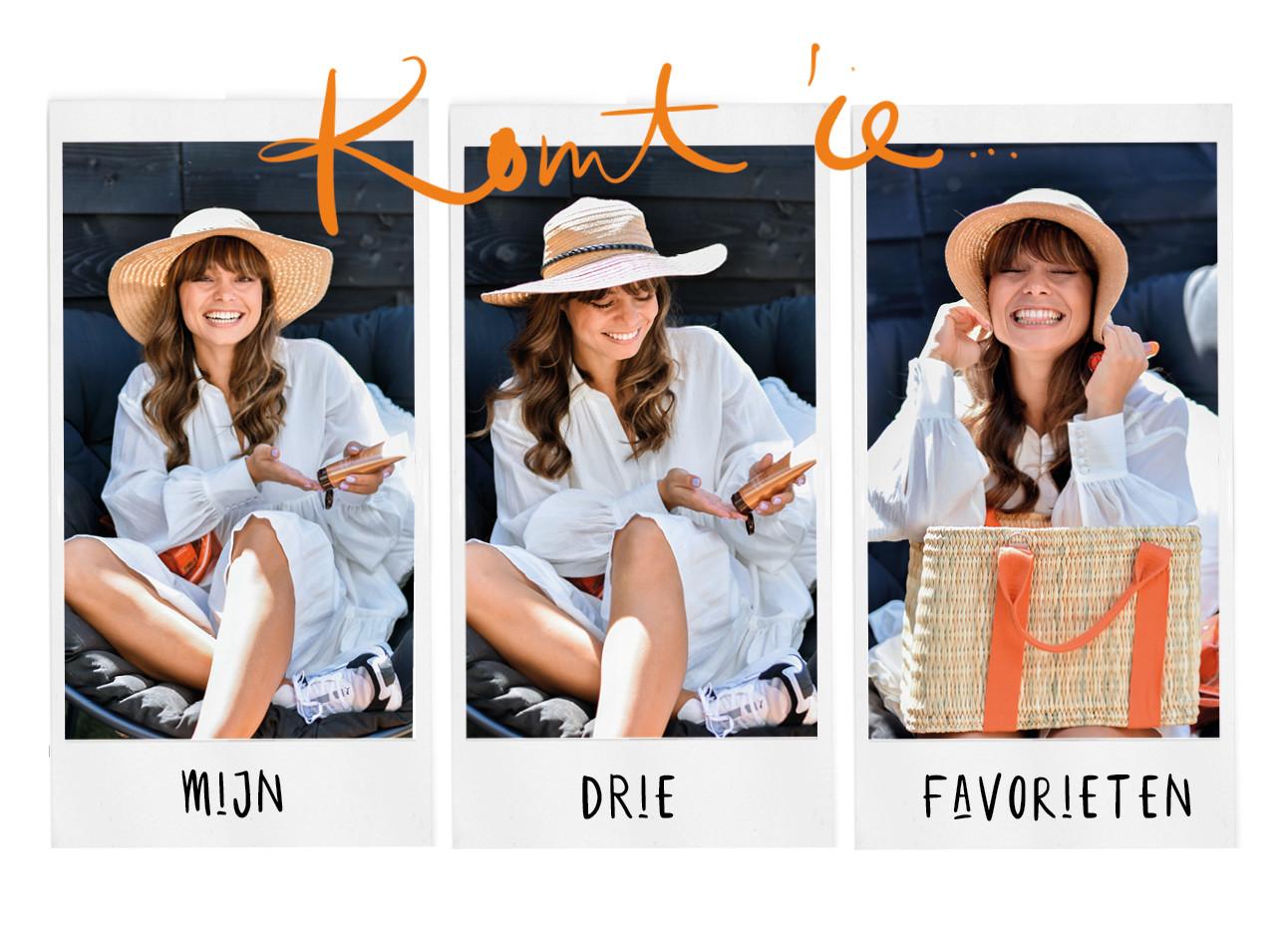 kiki lachend in een witte jurk aan met hoedje en SPF lancaster producten