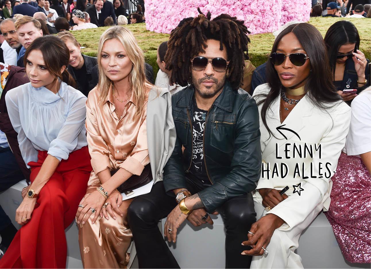 Kate Moss Victoria Beckham Lenny Kravitz en Naomi Cambell rontrow bij catwalk