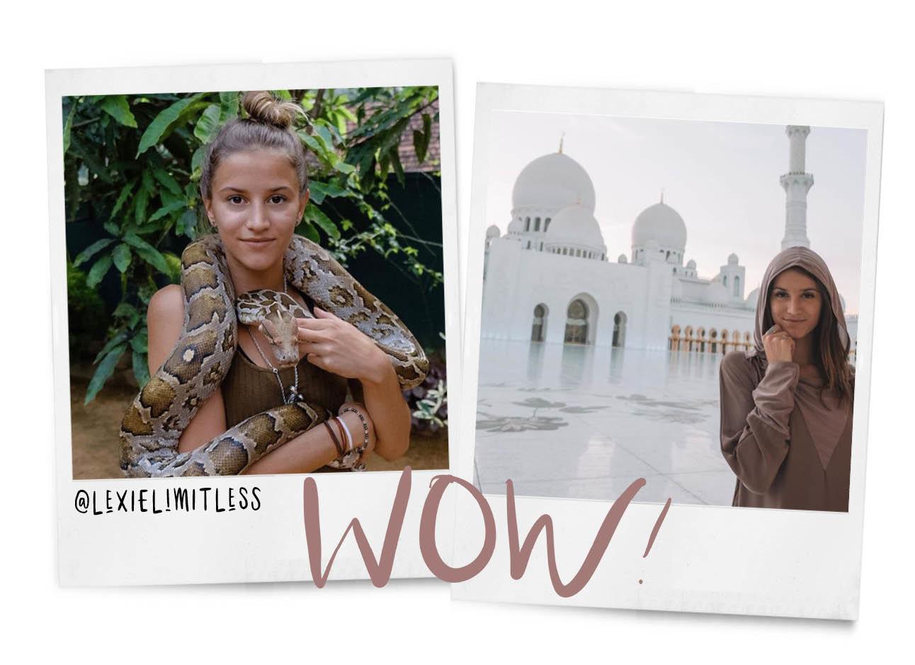 lexielimitless met een slang om haar hals, en in dubai bij een moskee