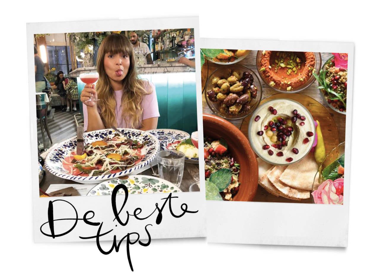 kiki duren aan het eten, tafel vol met libanees eten, de beste tips