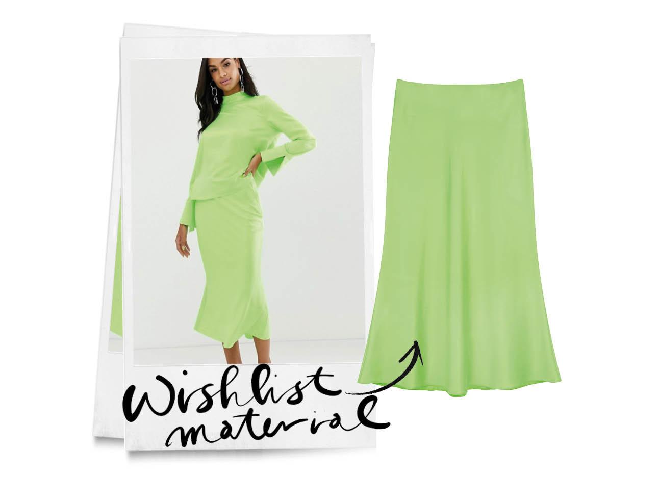 neon groene midi rok van asos, model draagt het met een neon groepe top, zwart haar getint
