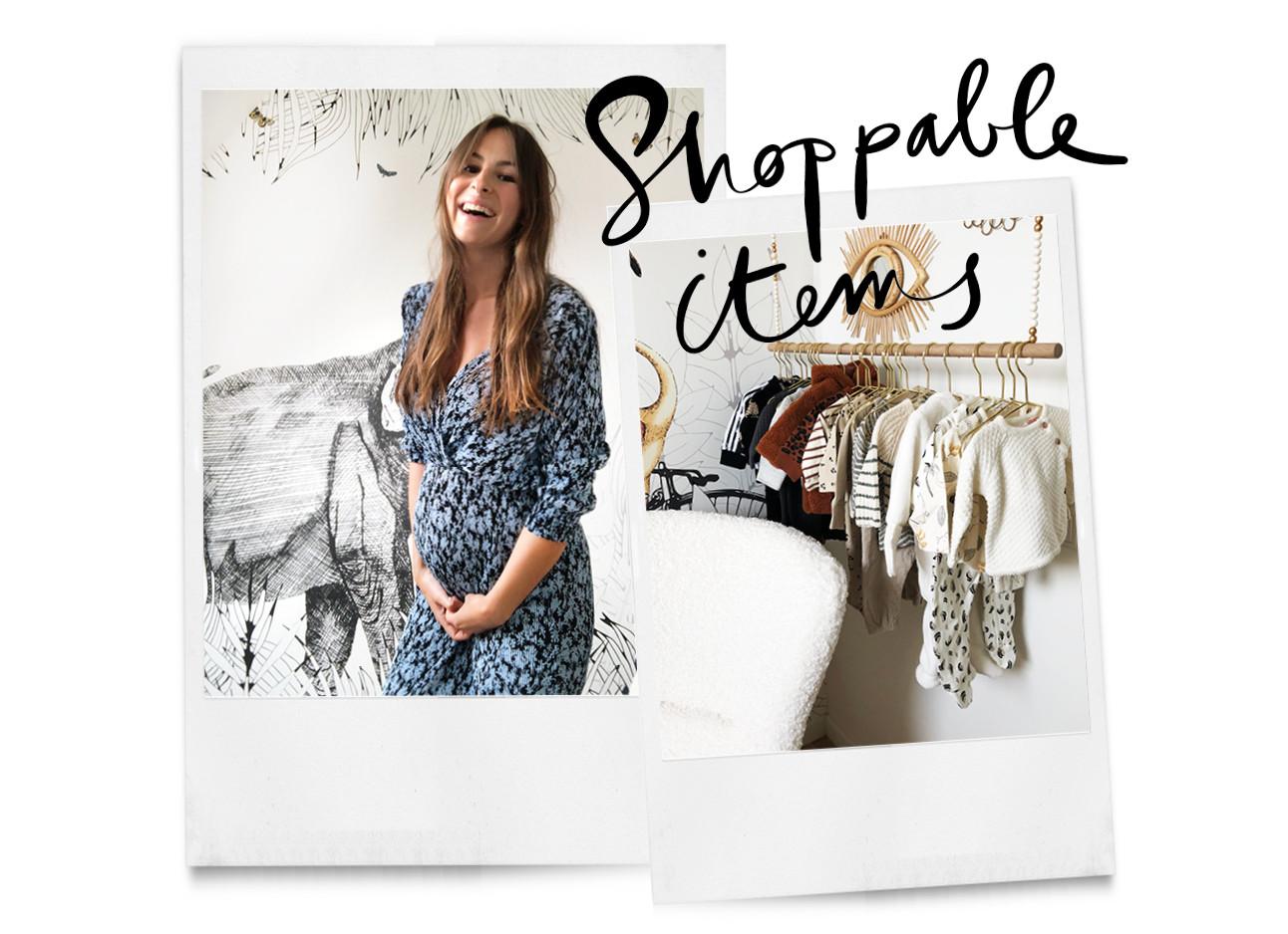 lilian brijl lachend met in een zwangere jurk in haar babykamer