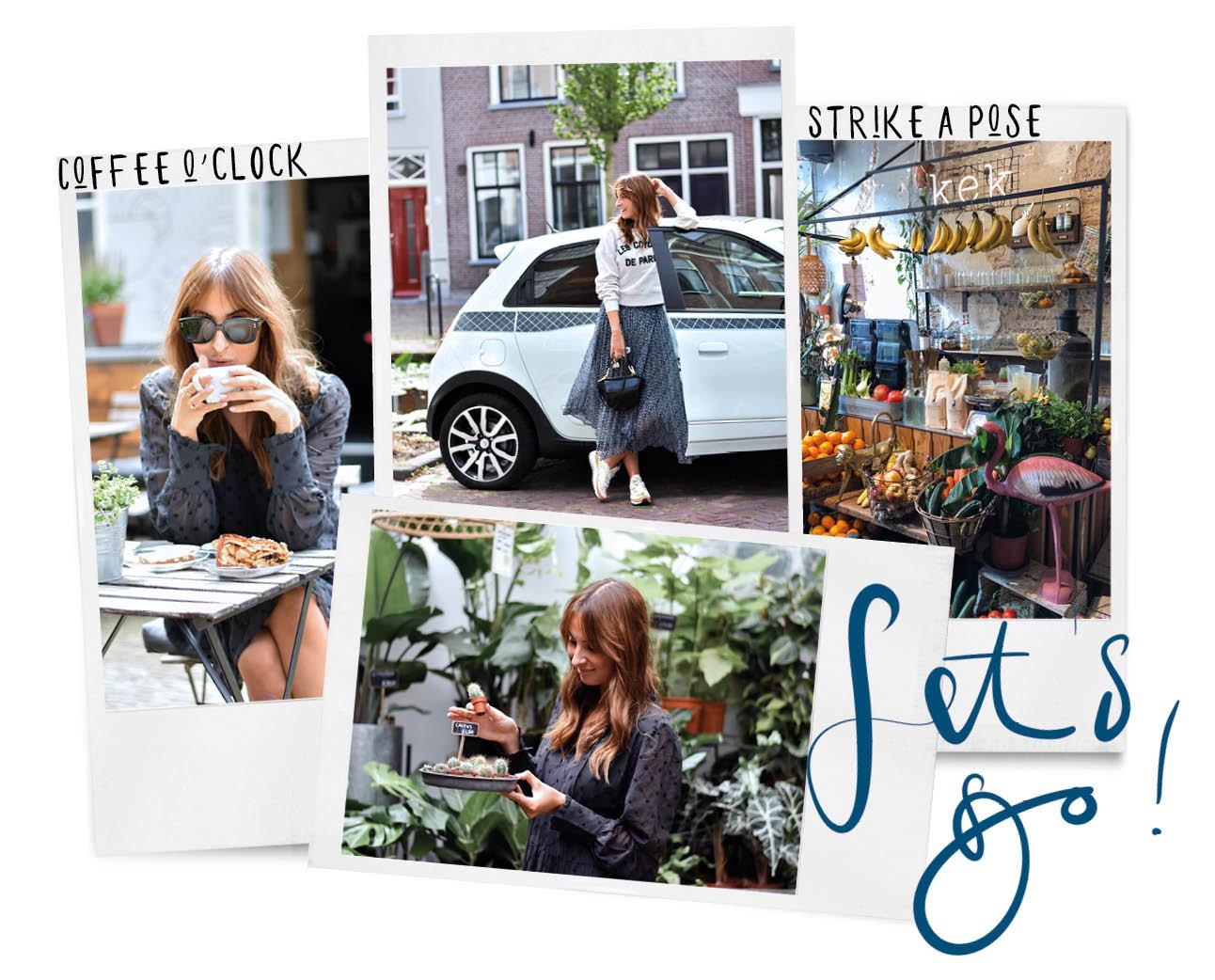 lilian door Delft reizen hotspots en shops koffie drinken op het terras en planten winkel lachend