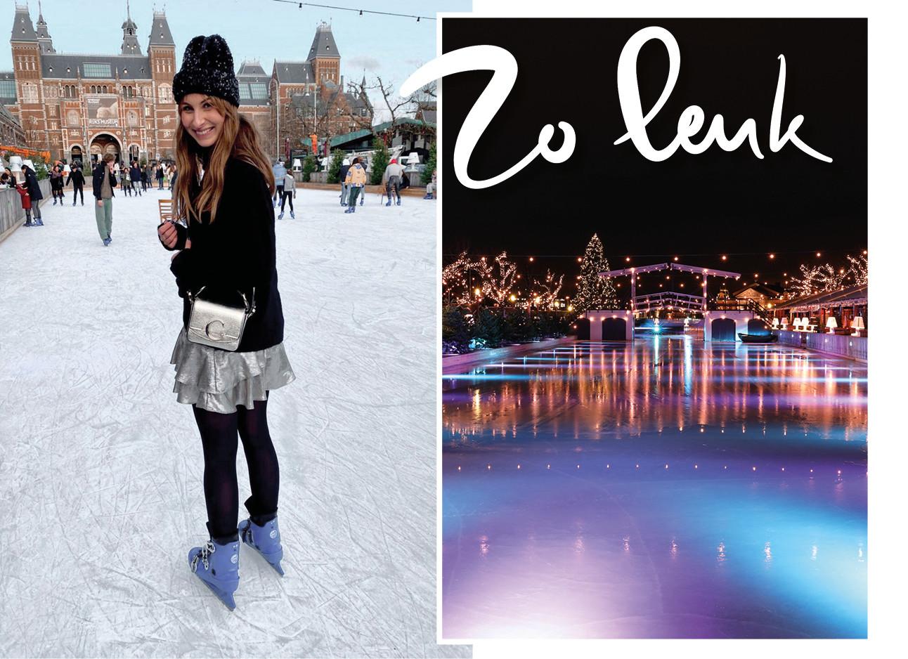 Lilian die schaatsend op een ijsbaan staat