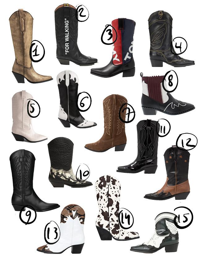 Een shopping van 15 cowboy laarsjes