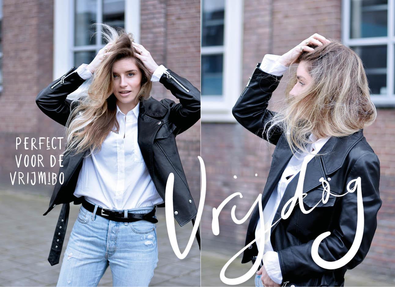 lotte van scherpenzeel met een witte blouse aan een jeans en een leer jasje op de look of the day