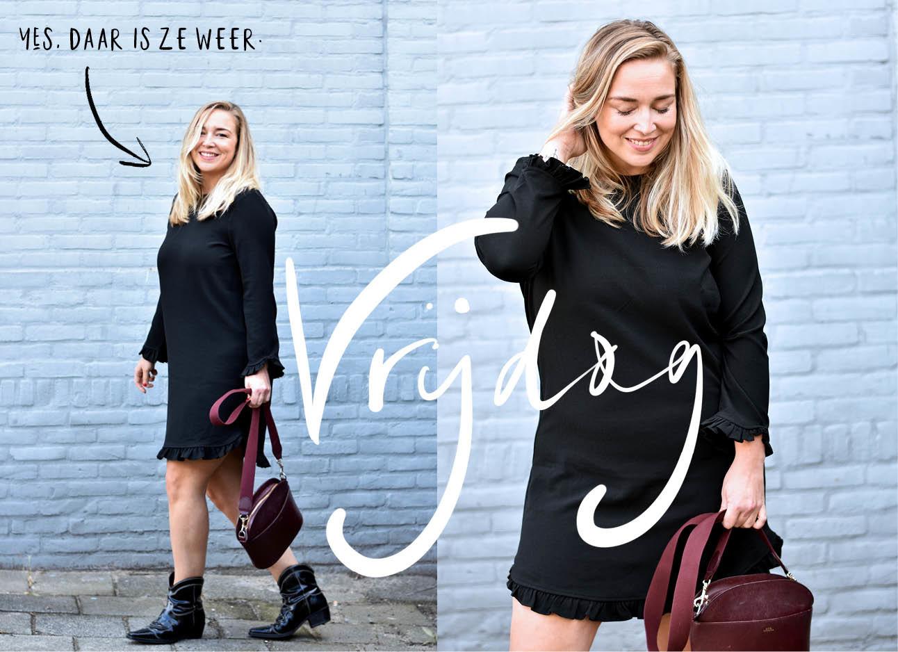 Adeline Mans in zwarte Ganni jurk