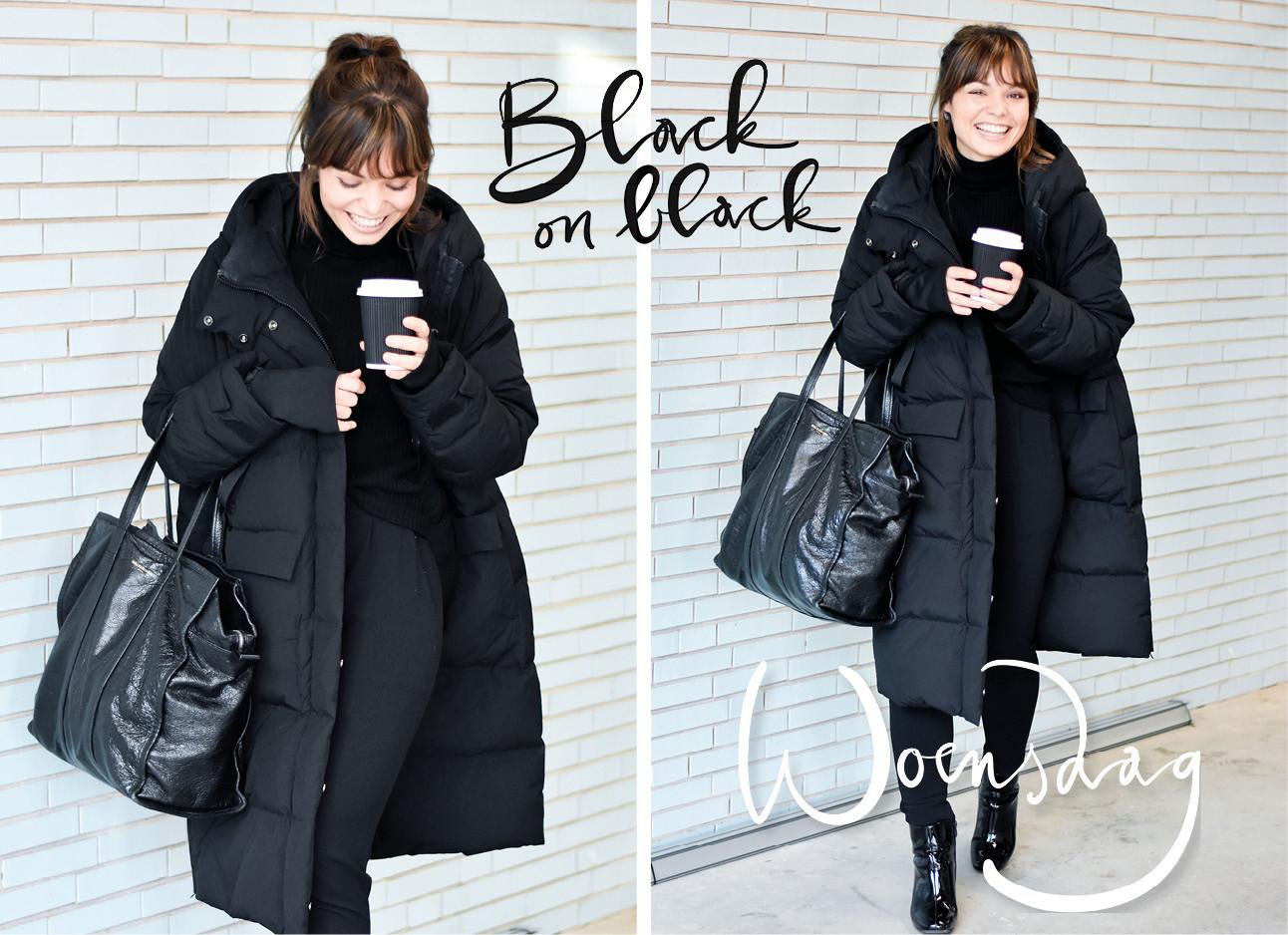 Vrouw lopend op straat zwarte kleren