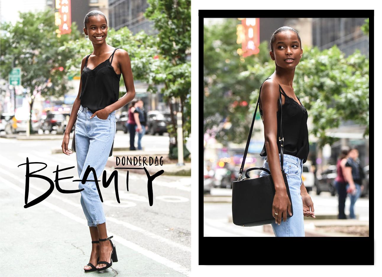 Isilda Moreira op straat model streetwear