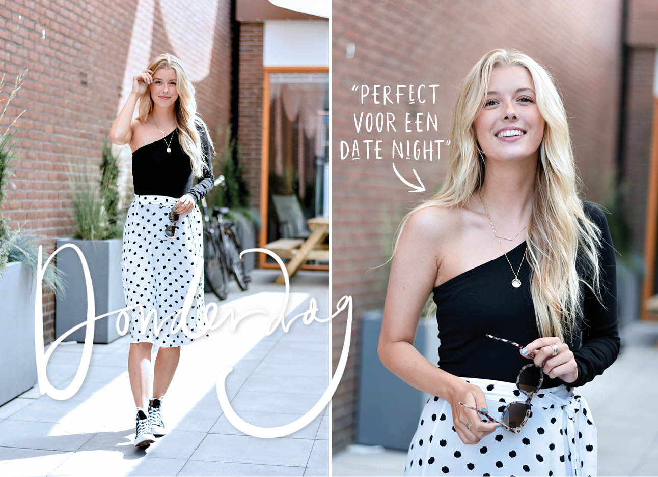 look of the day annabelle van hardeveld lachen met zwarte one shoulder topaan het stippen rok allstars