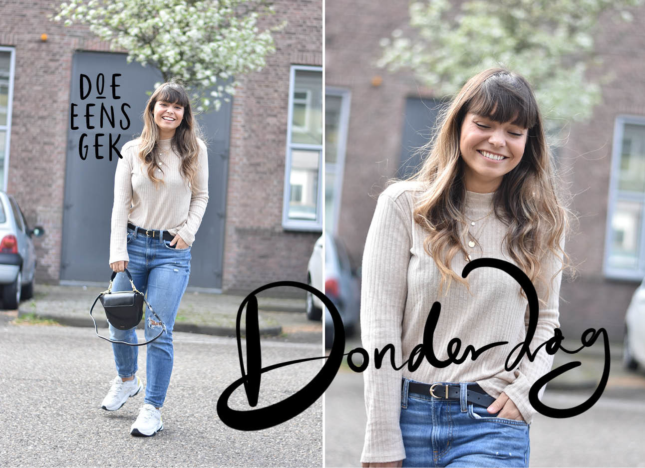 Look of the day Kiki duren lachend in een jeans en een beige top met witte sneakers van nike zwart wandler bag