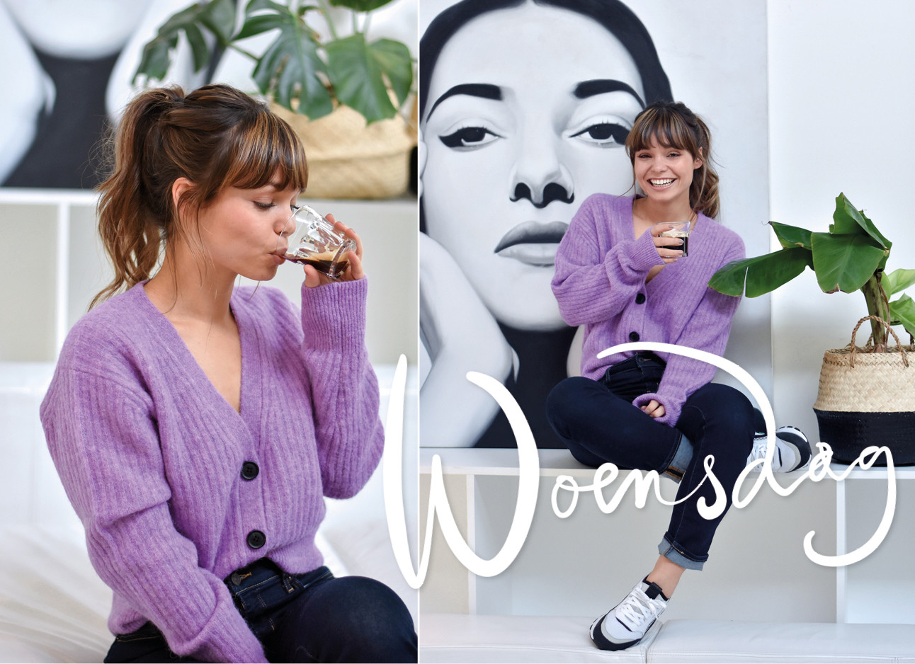 Vrouw op een bank met een paars vest