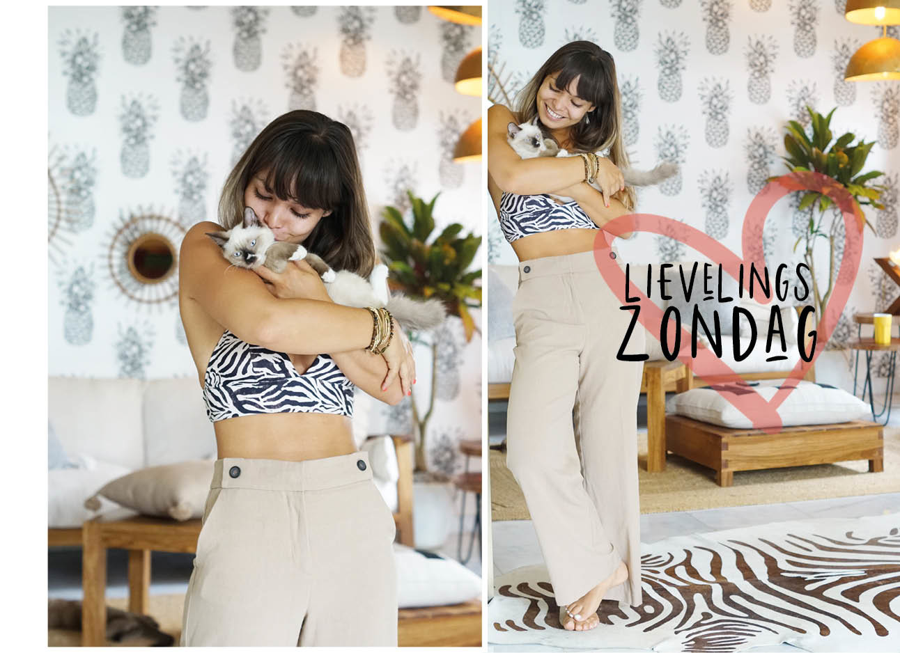 Kiki duren look of the day knuffen met kat en beige broek en crop top aan