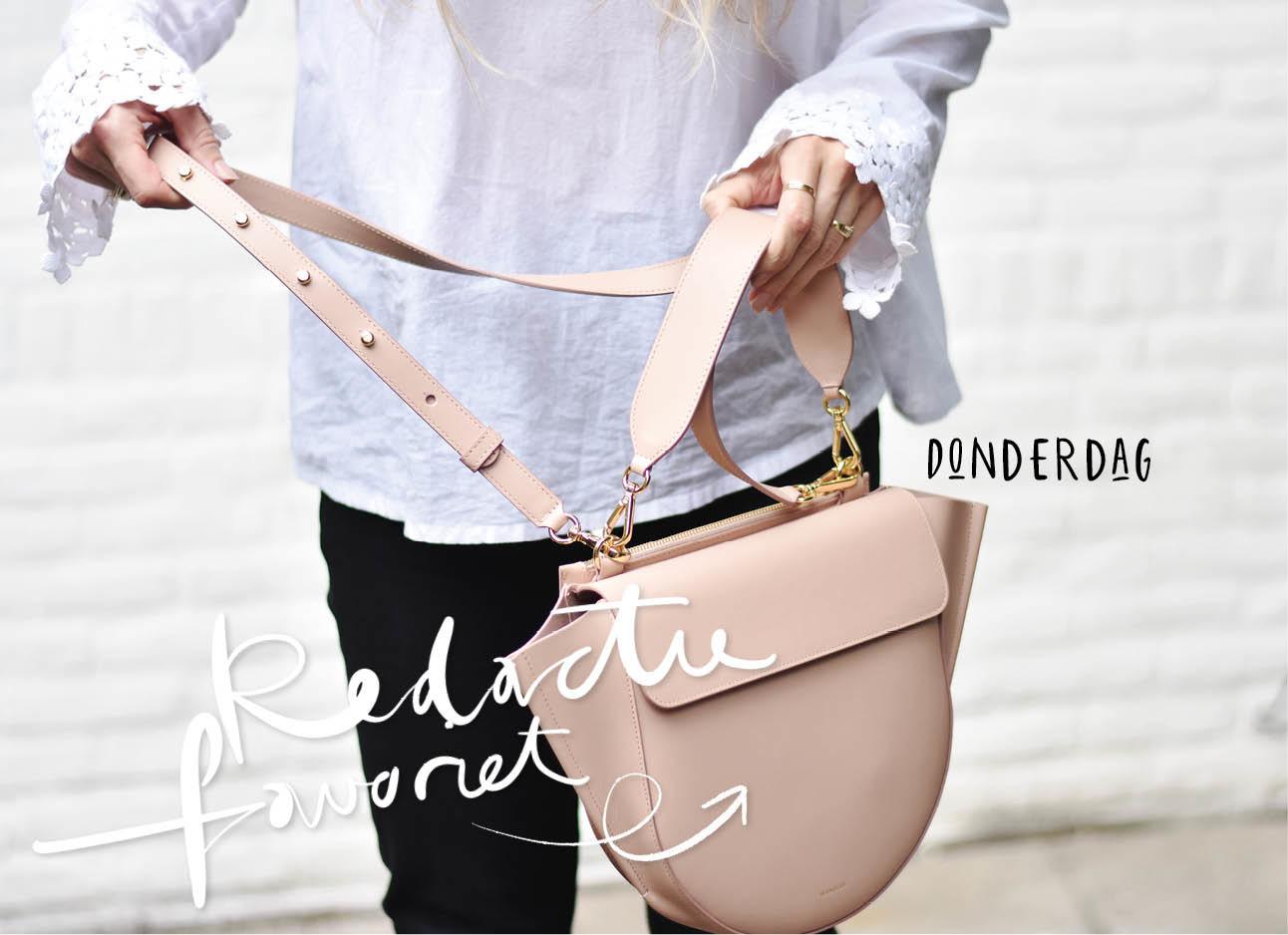 Licht roze WAndler tas met witte blouse van Stieligtz