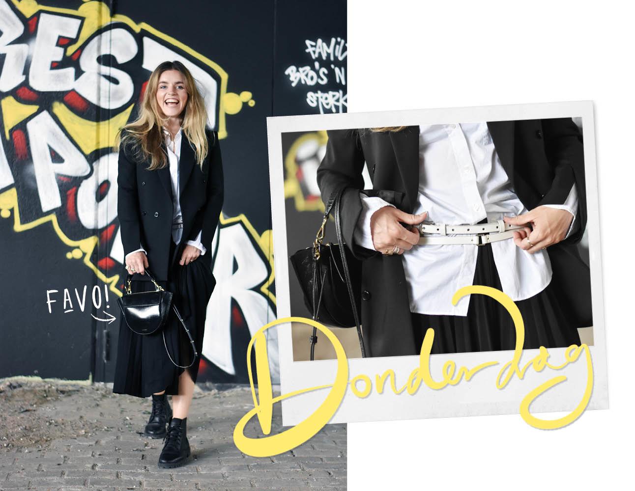 Look of the day Lotte van Scherpenzeel zwarte graffiti muur zwarte rok en jasje witte blouse PAUW riem