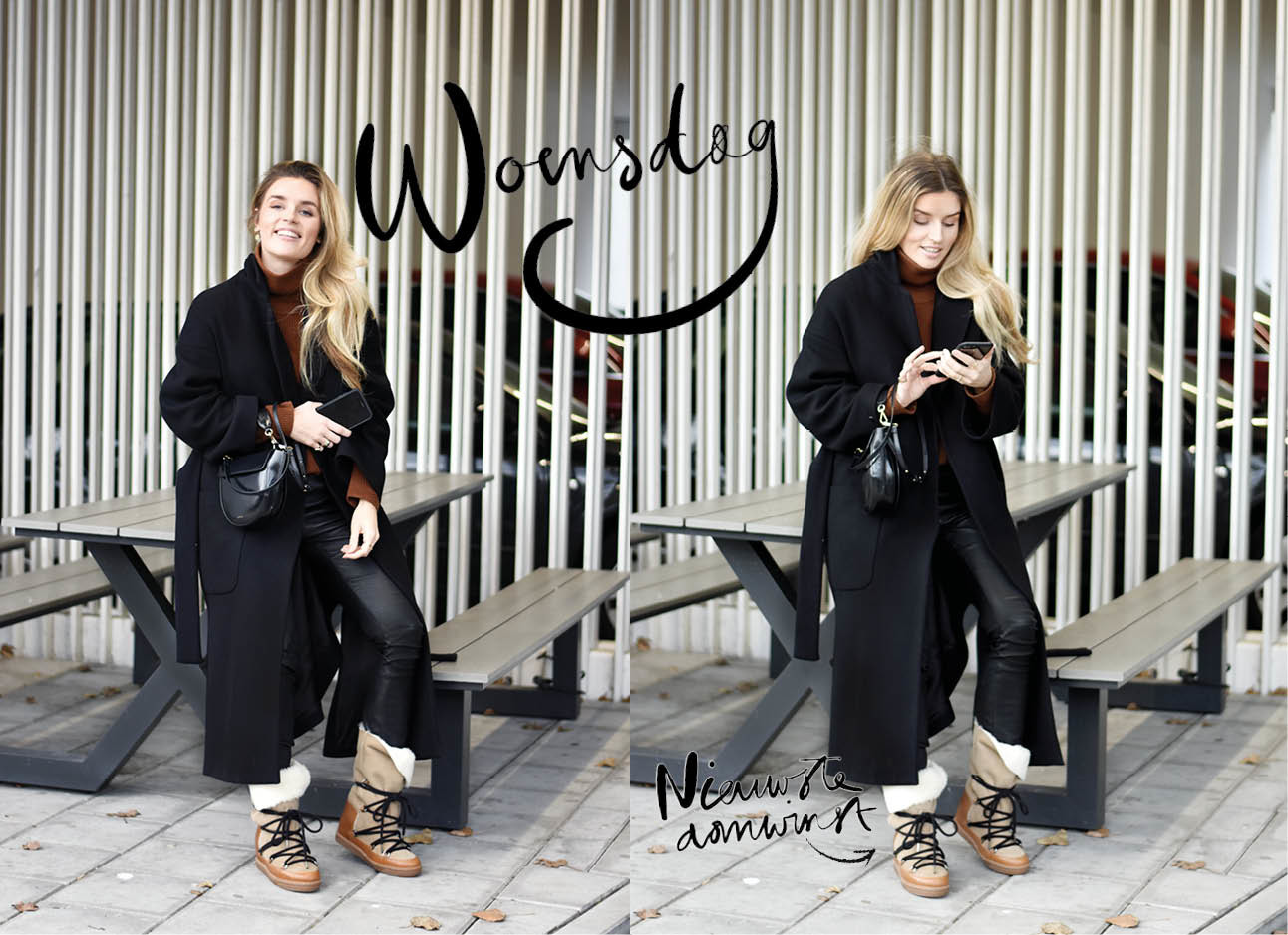 Lotte van Scherpenzeel zwarte jas isabel marant shoes en wandler bag look of the day