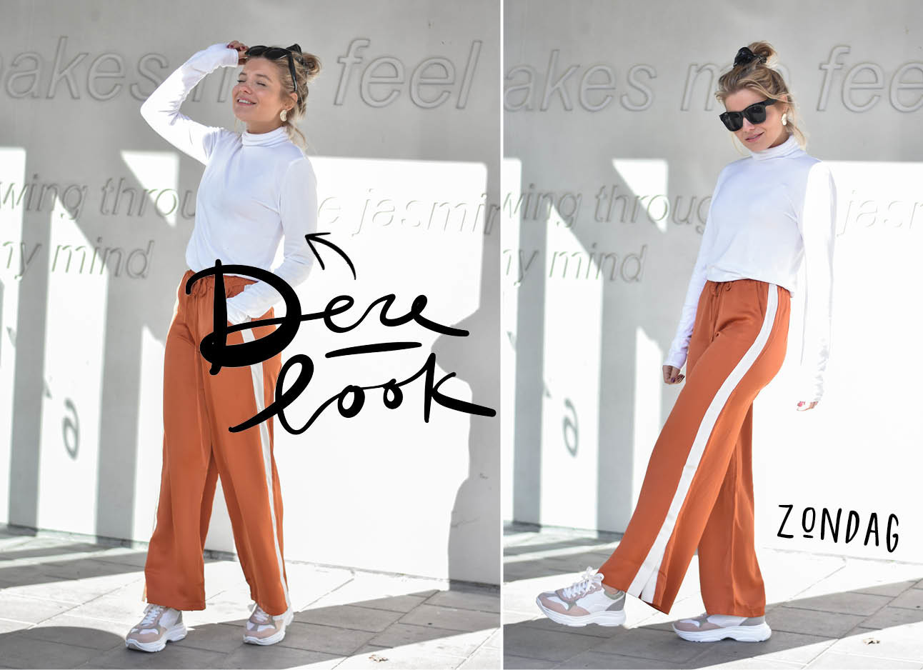 lynn wit shirt cognac broek met witte streep en sneakers en knot op haar hoofd met scrunchie