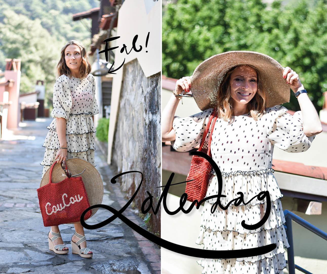 may ganni jurk rieten hoed rode tas turkije