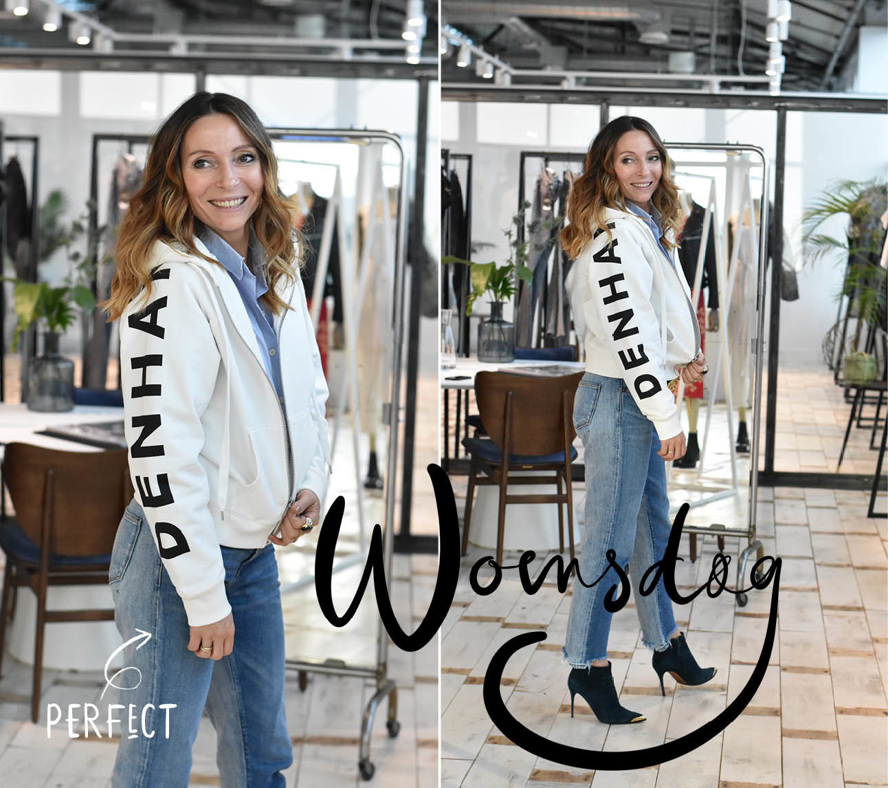 Look of the day May-britt Mobach in Denham wit vest en denham jeans in Amsterdam Noord op het Hoofdkantoor