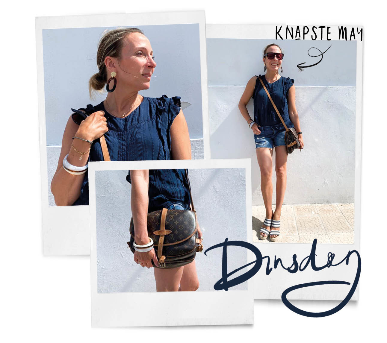 look of the day May-Britt Mobach in Italie zomerse outfit kort spijkerbroekje zonnbril sleehakken ou boutique