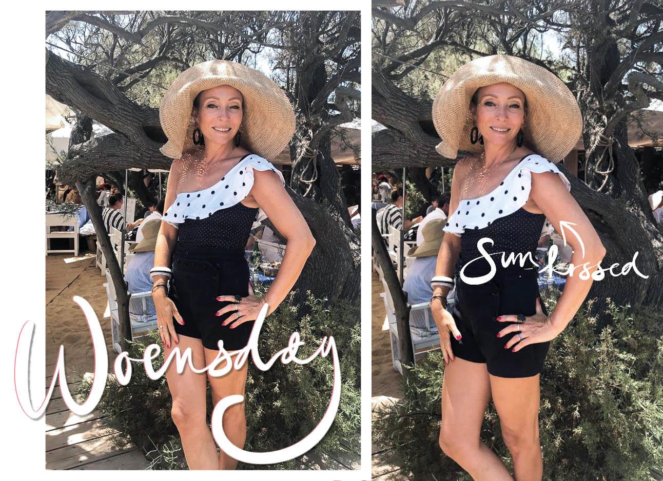 May-britt Mobach op vakantie met grote hoed